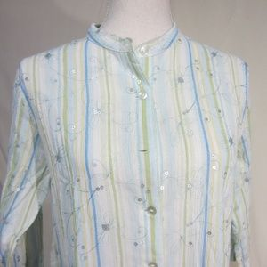 SUSAN GRAVER SMALL NWT PALE TEAL /SEQUIN TOP